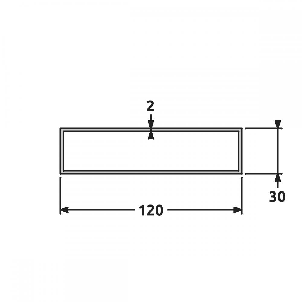 Tube rectangulaire aluminium 6060t6/mm 60/x 40/x 4/Longueur = 0/m